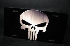 PUNISHER SKULL METAL LICENSE PLATE TAG FOR CARS  SUV METALIC BLACK BACKGROUND