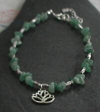 Green Aventurine Gemstones Lotus Flower Anklet Ankle Bracelet Any Charm
