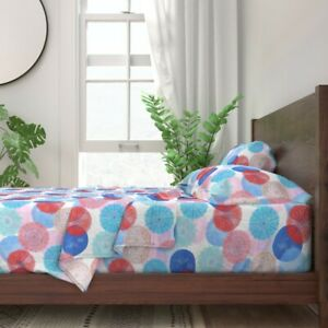 Mandalas Watercolor Dots Red White 100% Cotton Sateen Sheet Set by Roostery
