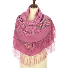 Pavlovo Posad Shawl 100% silk (crepe de Chine) 130x130cm(51x51inhes) 1630-4
