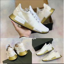 Adidas Originals NMD_R1 V2 Women's Running Casual Shoes FW5450 White/Gold SZ 11