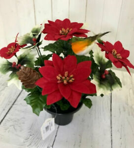 Artificial Red Poinsettia, Holly and Robin in Grave Pot - Christmas Tribute