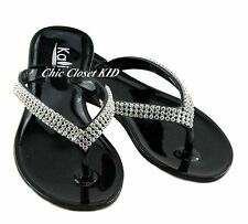 Girls Toddler Rhinestone Jewel Stone Jelly Shoes T-Strap Flip Flops Sandals NEW