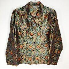 Chico's Womens Metallic Paisley Blazer Top Button Up Sz 2 Large Silk Blend