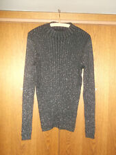Damen-Langarmpullover schwarz m. Silberfäden Gr. XL