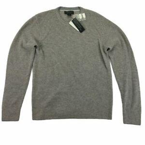 $392 Bloomingdale/'s Men/'s Gray Merino Pullover Quarter-Zip Wool Sweater Size L