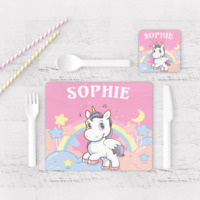 Personalised Unicorn Scene Background Kids Children's Table Placemat & Coaster