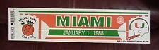 1988 MIAMI HURRICANES FOOTBALL ORANGE BOWL BUMPER STICKER UNSOLD GAME DAY STOCK