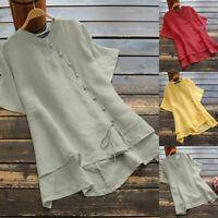 ZANZEA Women Short Sleeve Blouse Tee T Shirt Ladies Regular Fit Plus Size Top