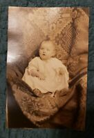 RPPC of Sweet Little Baby in Long Gown. Precious! Lovely! Pretty Chair Cover.