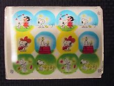 """SNOOPY Woodstock & Lucy Hologram Uncut Sheet of 12 For Buttons/Merchandise 12x9"""""""