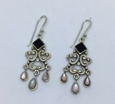 """Sterling silver chandelier style Earrings Black Onyx And Mother Of Pearl 2"""" Long"""