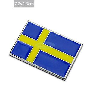 For Volvo Sweden SE National Flag Metal Chrome Badge Decal Emblem Badge Sticker