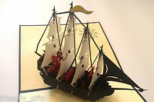 17x15cm 3D Pop Up Boat/Sailing ship, Dark Blue Cover, Any Occasion Greeting Card