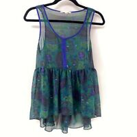 Urban Outfitters Staring at Stars Sheer Sleeveless Blouse S Blue Green Paisley
