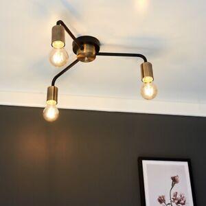 MiniSun Ceiling Light - Industrial Matt Black & Gold 3 Way LED Filament Bulb A+