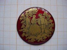 Petit médaillon émail Scene galante émaillé cuivre bijoux montre watch pocket p1