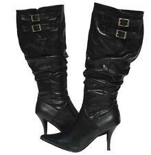 Women's Fashion Slouch  BOOTS BLACK Designer Winter Snow shoes Ladies Size 6.5