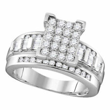 Sterling Silver Womens Diamond Rectangle Cluster Bridal Wedding Engagement Ring