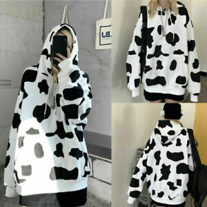Women Cow Print Hoodies Hooded Oversize Jumper Loose Long Sleeve Sweatshirts