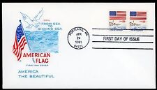 AMERICAN FLAG  ~  #1891 Coil Pair, Plate #2  On First Day Cover/ Scarce  ~ S3309