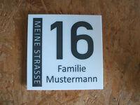Hausnummer-Schild 210 x 210 x 5 mm Wunschtext Neu
