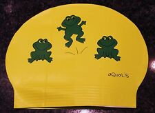 New in Bag AQUALIS Kids Junior YELLOW with GREEN FROGS Latex Swim Cap - Swimming