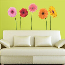 GERBER DAISIES wall stickers 5 MURAL flower decals 38 to 49 inches tall decor