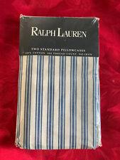 NIP Ralph Lauren Claudine Blue Stripe 100% Cotton STANDARD PILLOWCASES Set 2 NEW