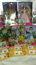 1999 Complete set of 8 WIZARD OF OZ Barbie and Munchkin Dolls w/ Pewter Spoons.