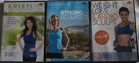 3 DVD lot Canyon Ranch Strong Sculpted cardio sculpt weight loss acacia workout