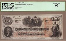 CONFEDERATE STATES: 100 Dollars Banknote,(UNC PCGS63),P-45, T-41, 1862,No Reserv