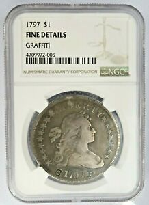 1797 NGC Fine Details Graffiti Draped Bust Dollar $1 Old US Silver Coin g236