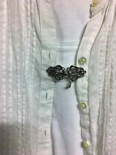 Bright Silver Dickie Pete Clip for Tunic, Shirt, Sweater, Scarf, Cover-up Reuse!