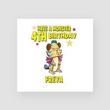 Personalised Handmade 4th Birthday Card - Her, Daughter, Granddaughter. Monster