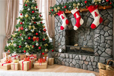 Vinyl Photography Backdrops Christmas Trees Photo Props Socks Background 7x5FT