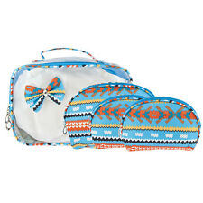 See Through Cosmetic Bag Set 4Pc Lux Accessories Multicolor Blue Aztec Print Bow