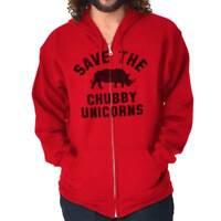 Save The Chubby Unicorns Funny Rhino Hipster Zipper Sweat Shirt Zip Sweatshirt