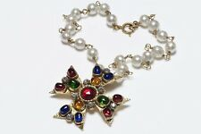 CHANEL 1985 Gripoix Blue Red Green Glass Maltese Cross Pearl Pendant Necklace