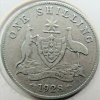 1928 AUSTRALIA George V, Silver One Shilling, Grading About FINE..