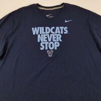 V Villanova Wildcats Never Stop Men Short Sleeve T Shirt 3XL XXXL Blue Crewneck