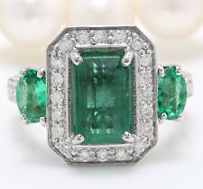 4.68 Carat Natural Zambian Emerald and Diamonds in 14K White Gold Women's Ring
