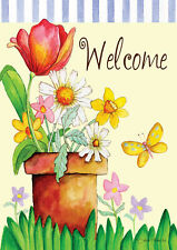 Toland Home Garden Sleeved Garden Flag 12.5x18 Potted Welcome Flowers Floral