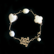BOWERHAUS Pearl Charm Bracelet -  with 24K Gold Plated