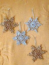 Addobbi natalizi stelle, lavorazione uncinetto argento e oro  idea regalo