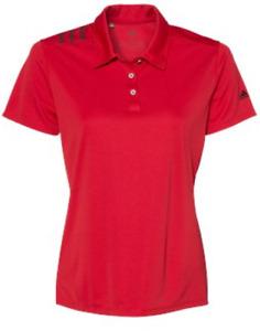 ADIDAS Women's 3 Stripe Shoulder DRI FIT GOLF Polo Sport Shirts S-3XL NEW A325
