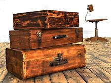 Konvolut 3 Holzkoffer Antik Kiste mit Deckel Alt Vintage Holzkiste Truhe Bauhaus