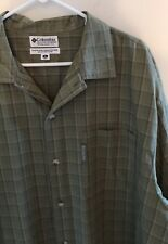 Men's Green Plaid Short Sleeve Columbia Button Down Shirt Size XL