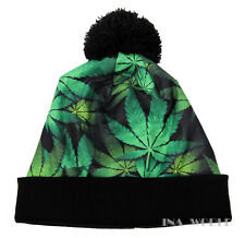 Marijuana Cannabis Pom Beanie hat Cuffed Winter skull cap One size- Green/Black