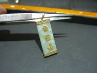 FINE ESTATE GENUINE JADE AND 14 KARAT YELLOW CHINESE GOLD LUCKY PENDANT CHARM